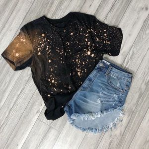 NEW Destroyed Bleached Grunge Tee Shirt S-5X